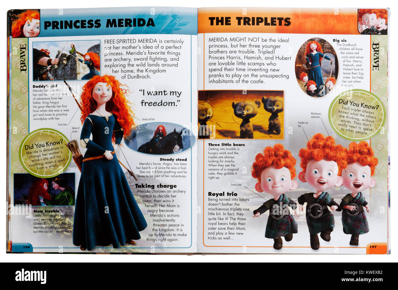 Pixar character Princess Merida from the film Brave in an Pixar Character Guide - Stock Image