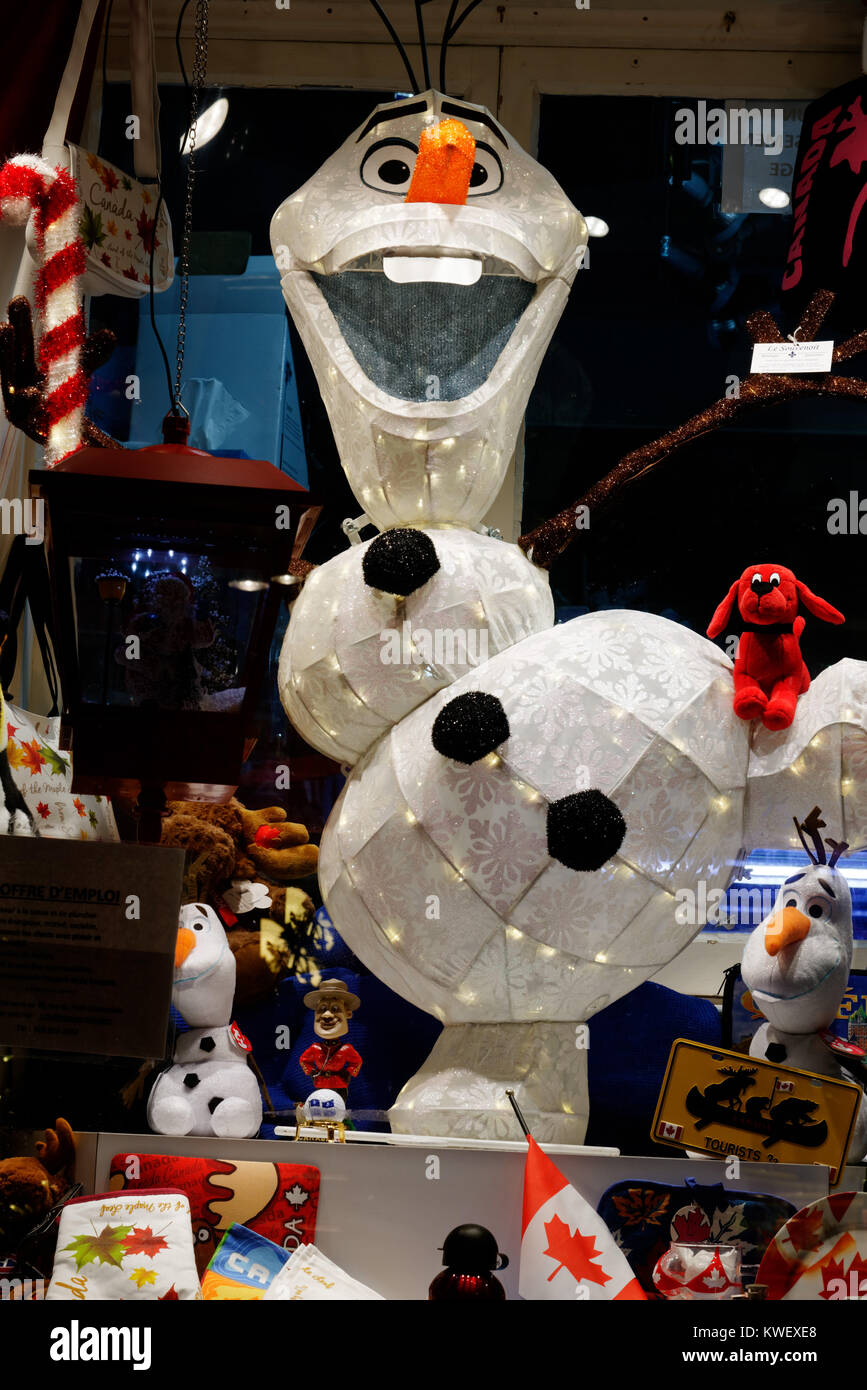 Olaf from Frozen window dressing display - Stock Image