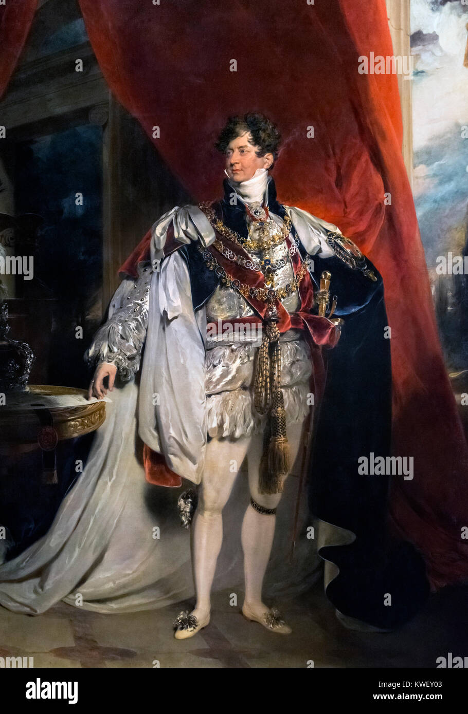 George IV. Portrait of King George IV by Sir Thomas Lawrence, oil on canvas, 1816 - Stock Image