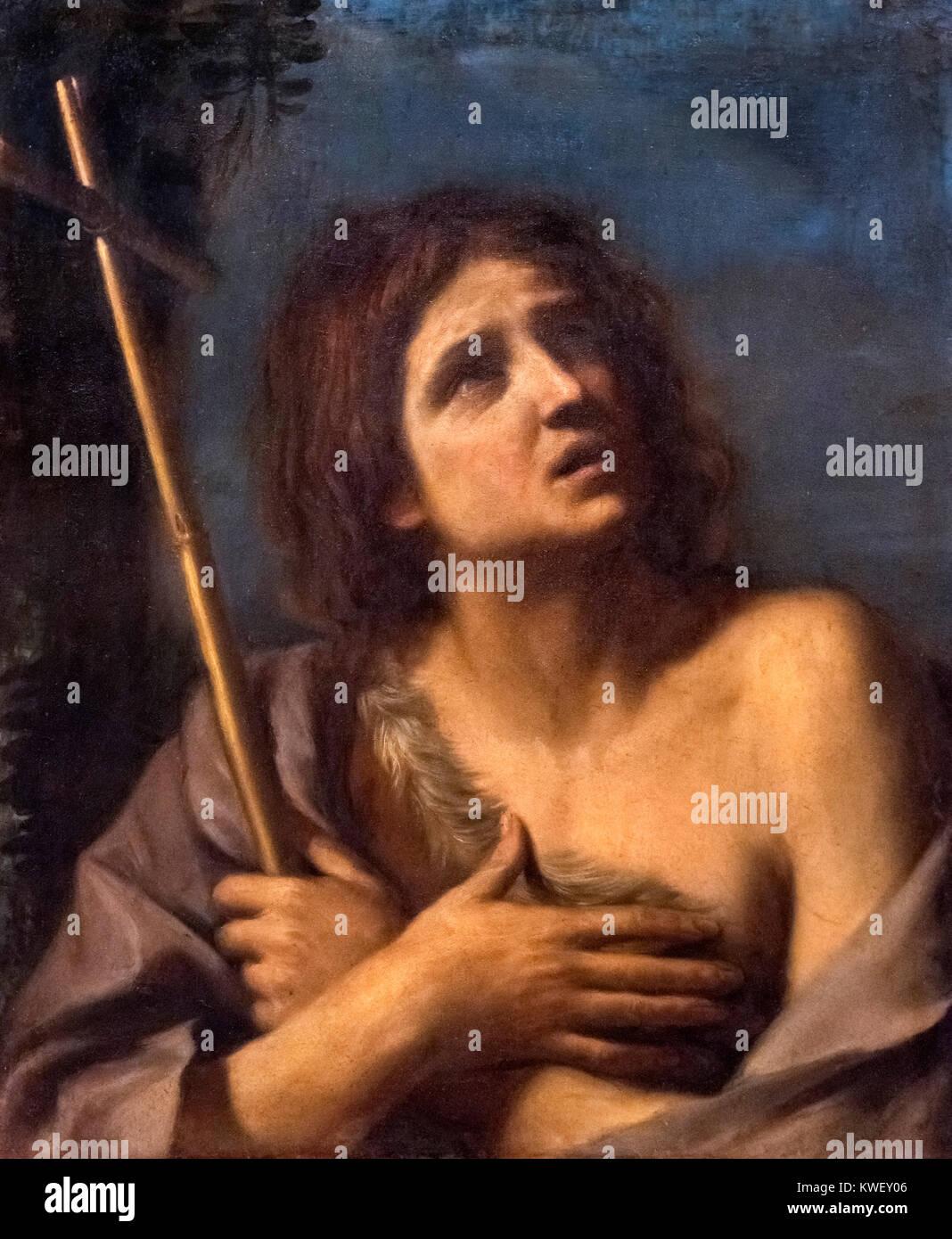 St John the Baptist by Il Guercino (Giovanni Francesco Barbieri, 1591-1666), oil on canvas, - Stock Image