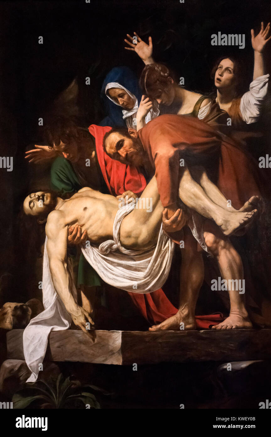 Caravaggio painting. The Entombment of Christ (Deposition) by Michelangelo Merisi da Caravaggio (1571-1610), oil - Stock Image