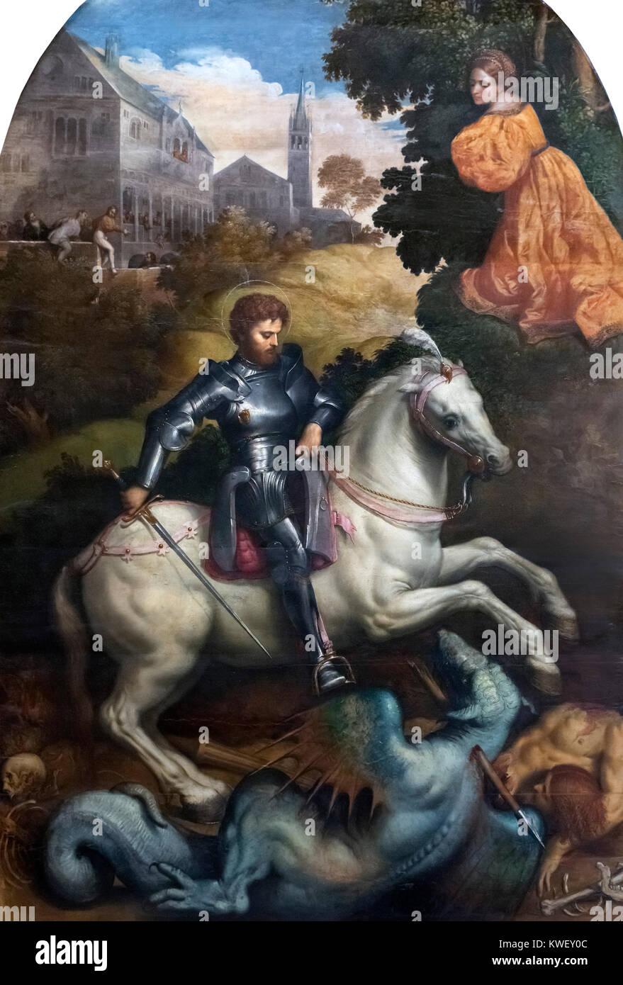 St George Killing the Dragon by Paris Bordon (1500-1571), oil on panel, c.1525 Stock Photo