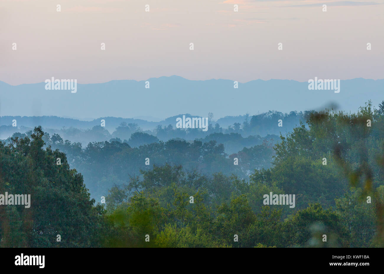 Early morning view of the Smoky Mountains from Seven Islands State Birding Park. - Stock Image