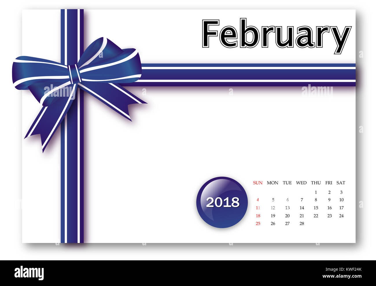 February 2018 - Calendar series with gift ribbon design - Stock Image