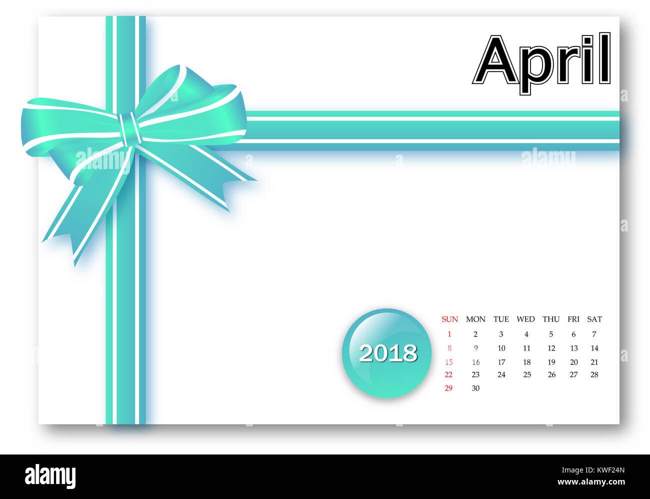 April 2018 - Calendar series with gift ribbon design - Stock Image