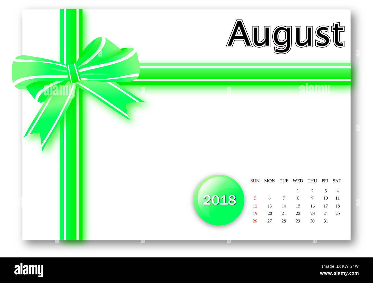 August 2018 - Calendar series with gift ribbon design - Stock Image