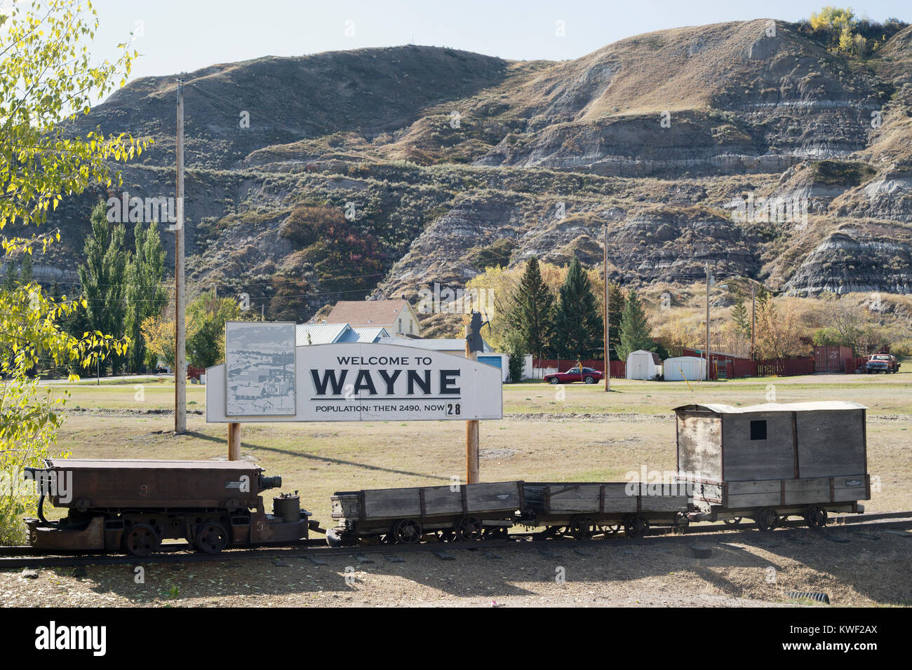 Wayne, a former coal mining town, with a welcome sign showing population decrease - 'Population: Then 2490 now - Stock Image