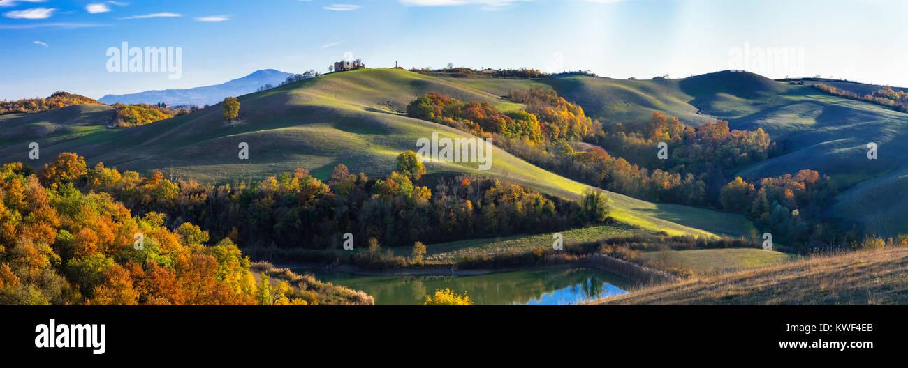 Impressive autumn landscape,Crete Senesi,tuscany,Italy. Stock Photo