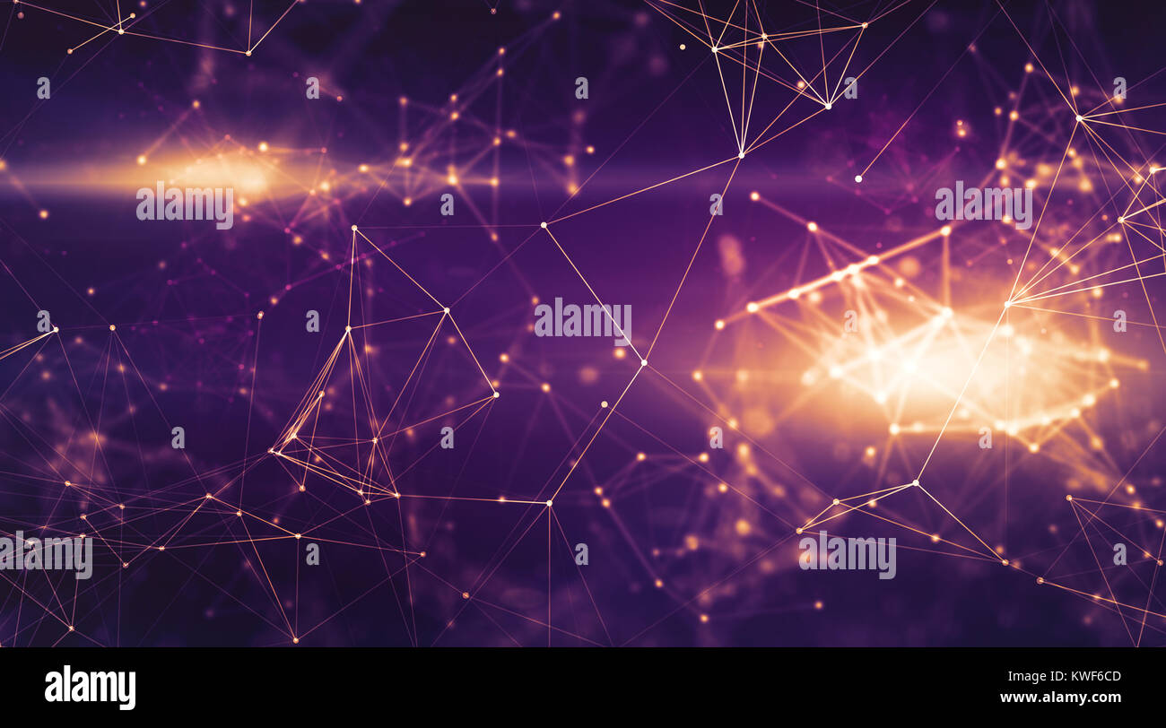 Abstract Doted Dark Purple Space Background Connecting Dots