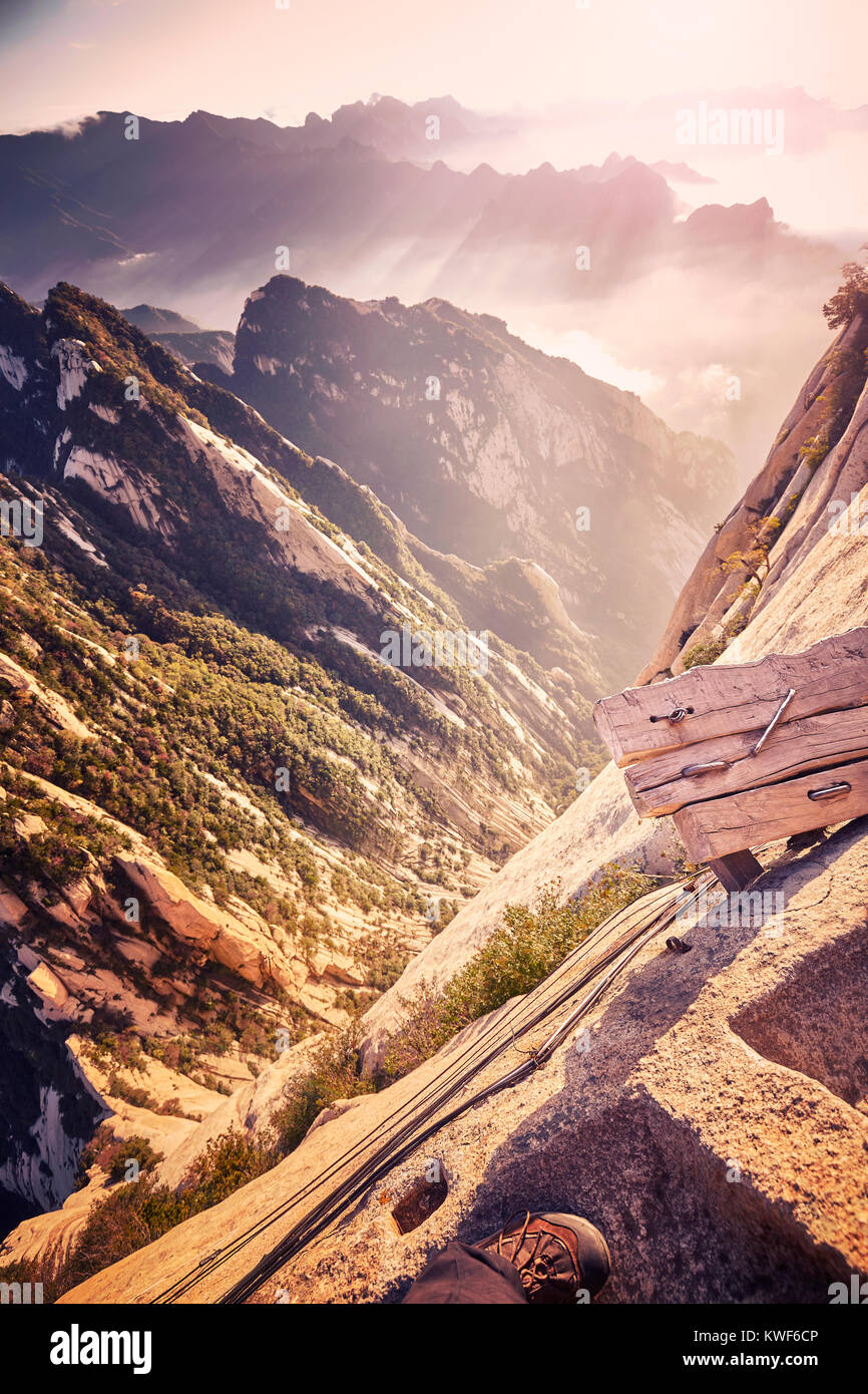 Beginning of the Plank Road trail at Mount Hua, worlds most dangerous hike, color toned picture, China. - Stock Image