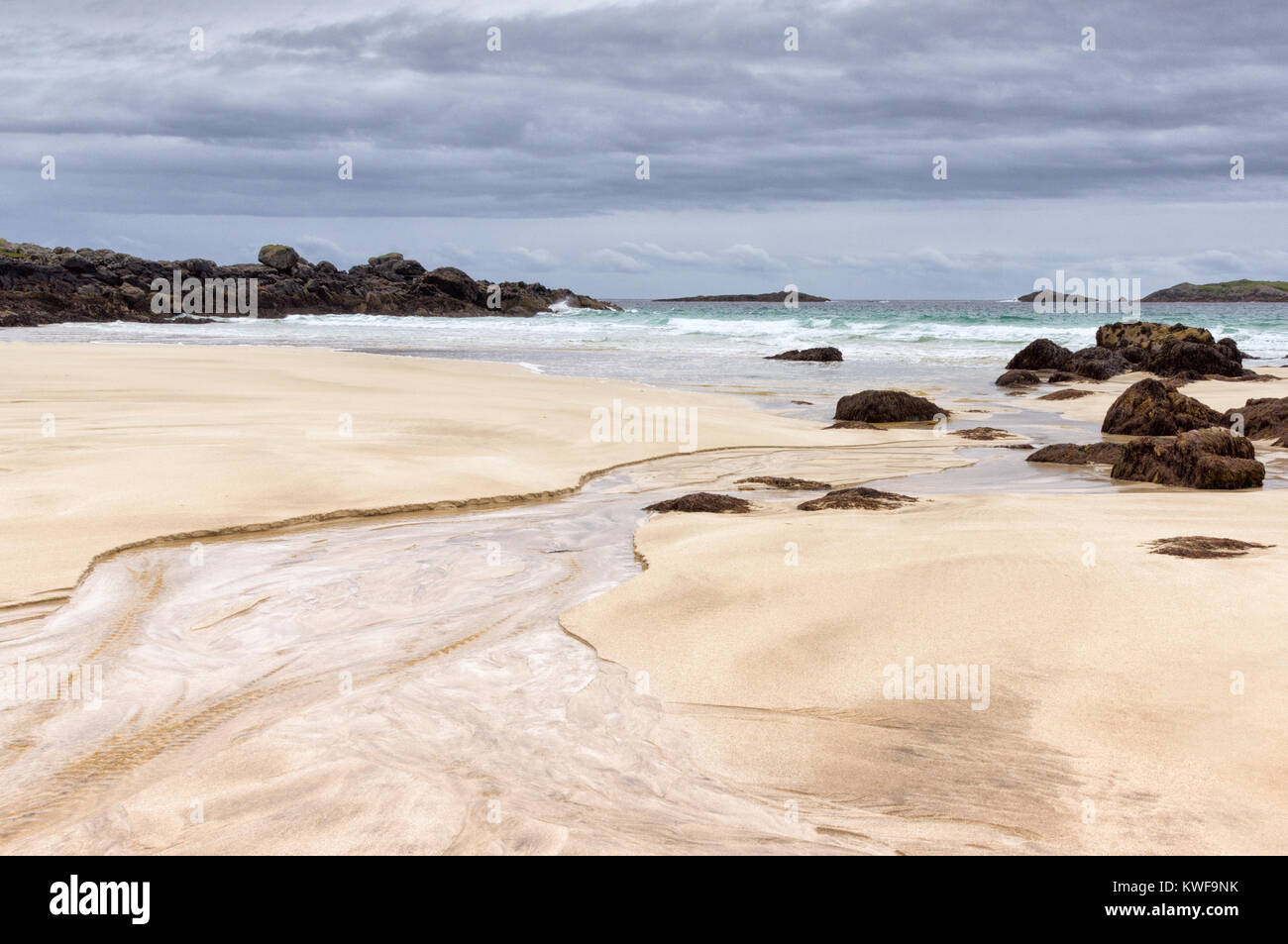 Sand patterns on deserted Mealasta beach, Isle of Lewis, Outer Hebrides, Scotland - Stock Image