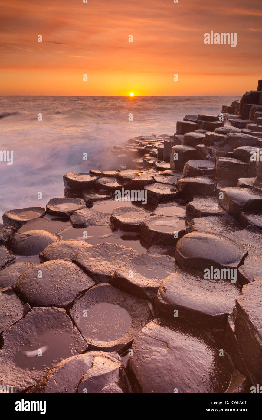 Sunset over the basalt rock formations of Giant's Causeway on the north coast of Northern Ireland. - Stock Image