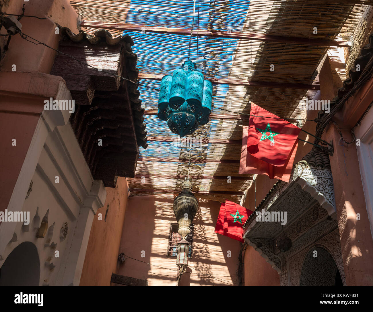 Looking up, lamps, medina. - Stock Image