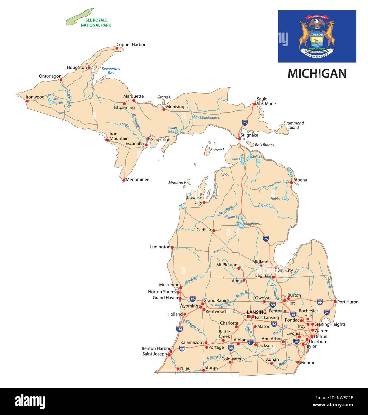 Map State Michigan American Flag High Resolution Stock Photography And Images Alamy