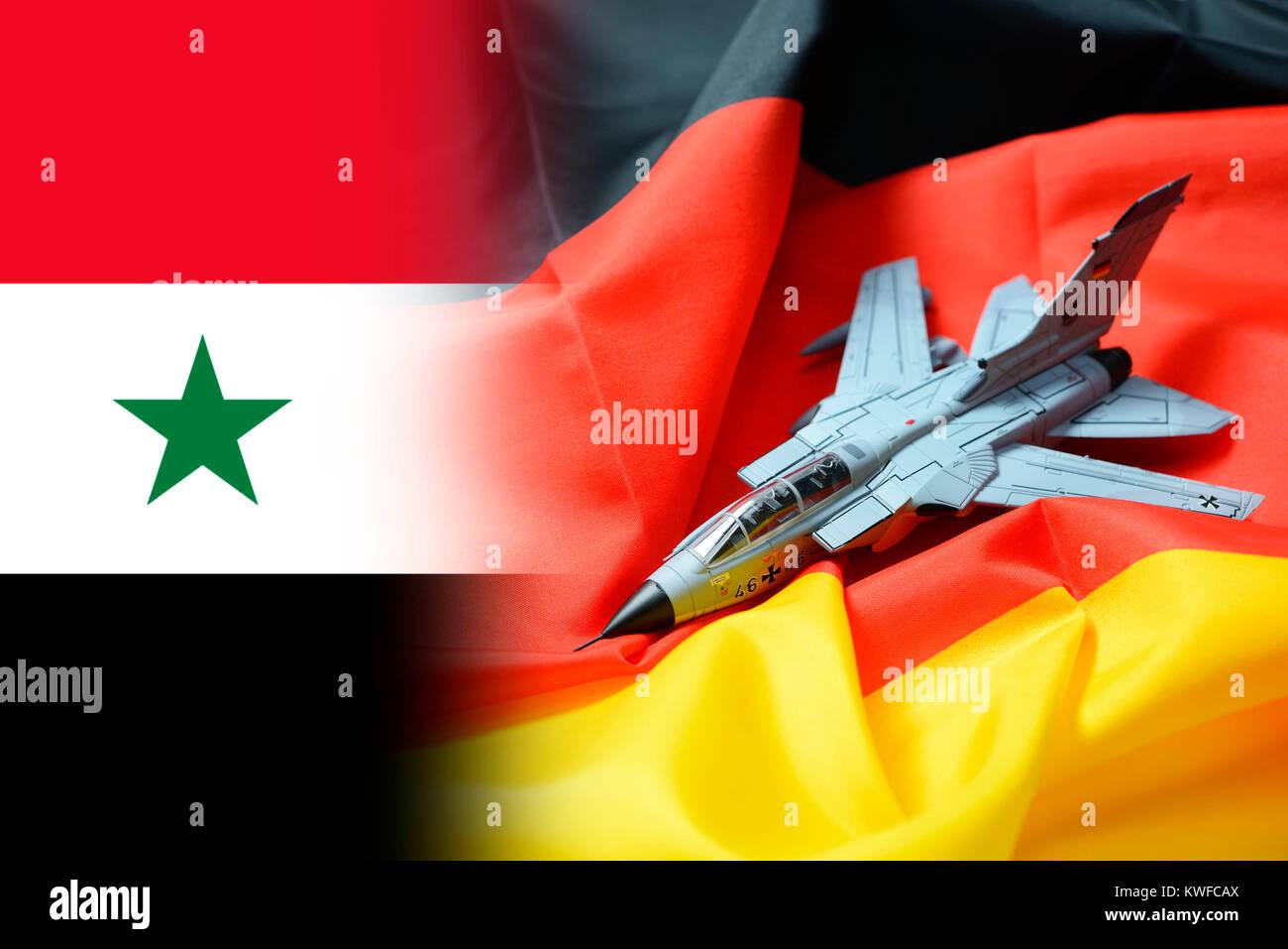 Tornado on Germany flag, foreign assignment of the armed forces, Tornado auf Deutschlandfahne, Auslandseinsatz der - Stock Image