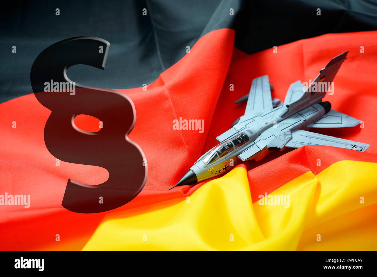 Tornado on Germany flag with section sign, foreign assignment of the armed forces, Tornado auf Deutschlandfahne Stock Photo