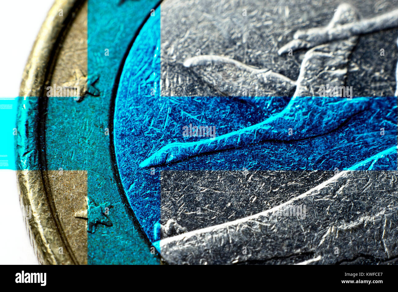 Finnish euro-coin one, Finnische Ein-Euro-Muenze - Stock Image