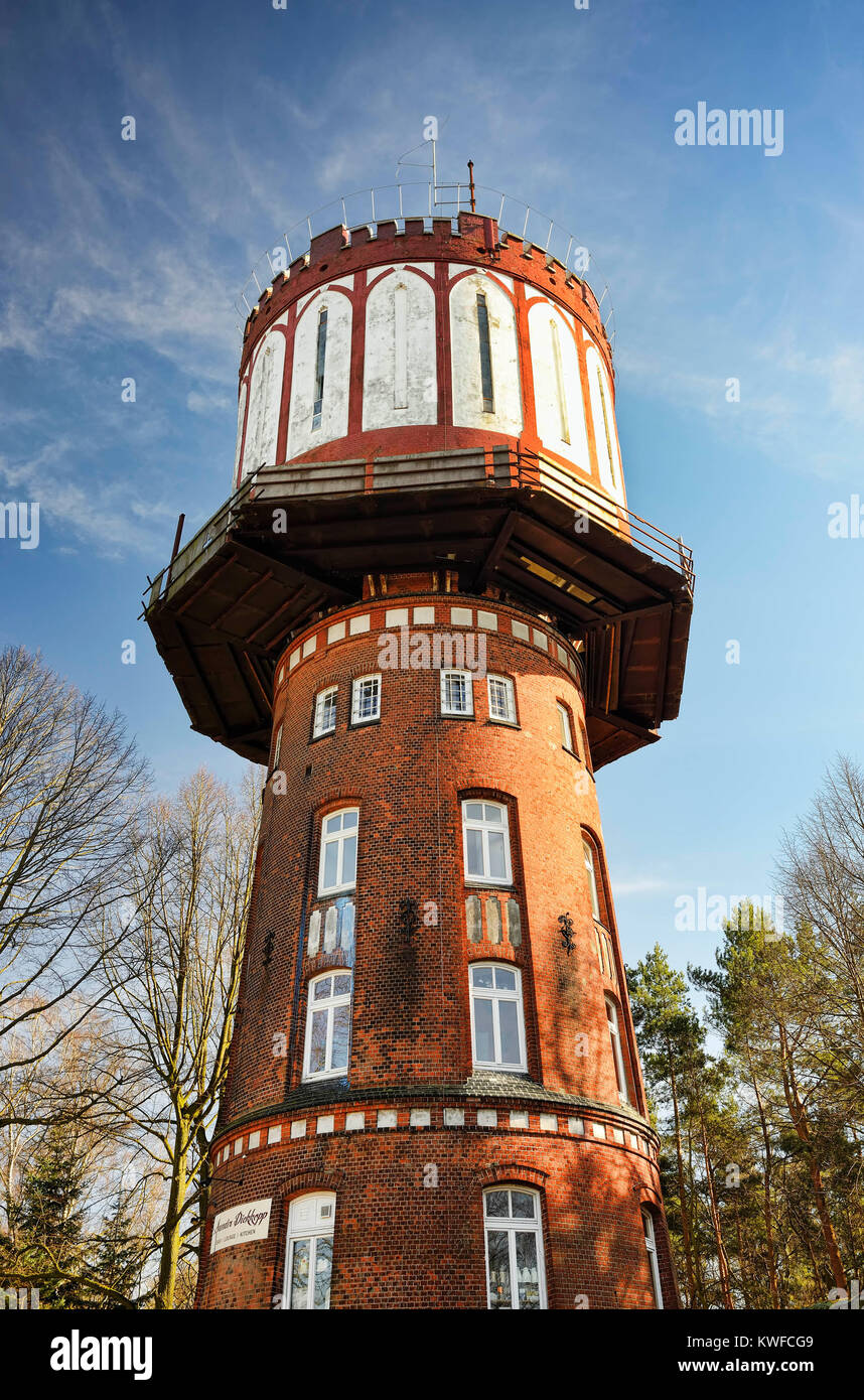 Historical water tower outwash plain Dickkopp in Lohbruegge, Hamburg, Germany, Europe, Historischer Wasserturm Sander - Stock Image
