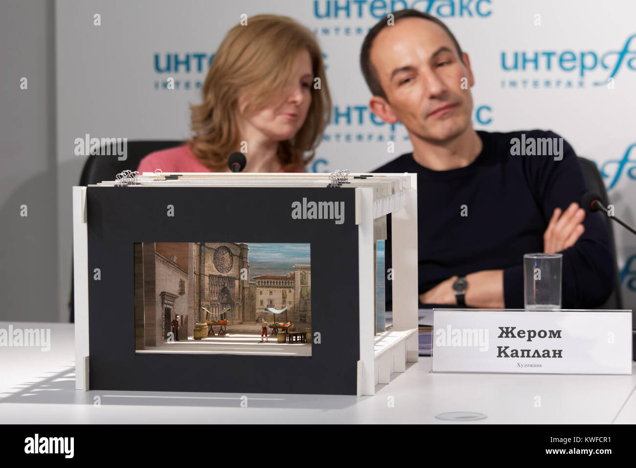 Costume and set designer Jerome Kaplan (right) on the press conference dedicated to the premiere of ballet - Stock Image
