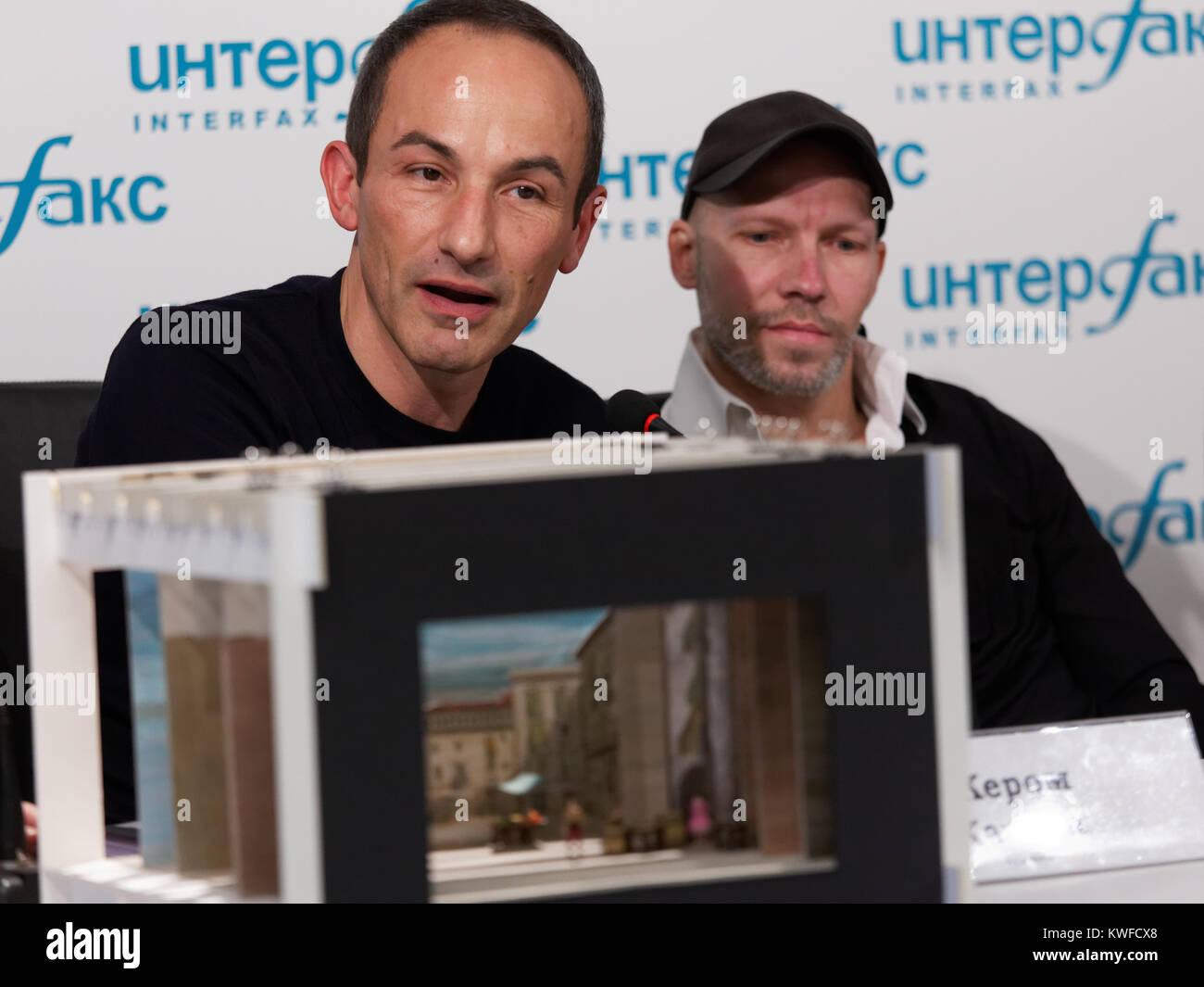 St. Petersburg, Russia - December 11, 2017: Costume and set designer Jerome Kaplan (left) and choreographer Johan - Stock Image