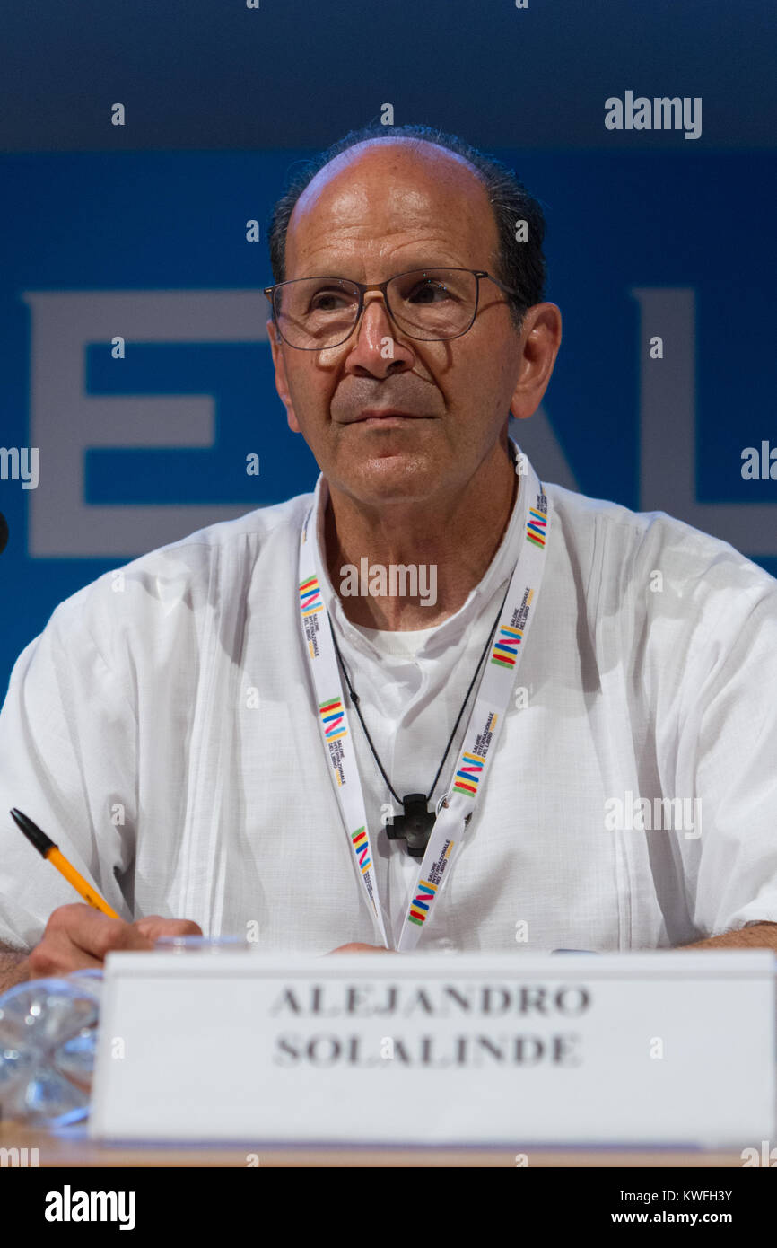 Mexican Catholic priest Alejandro Solalinde during a conference at Torino Book Fair. Solalinde was threatened by - Stock Image