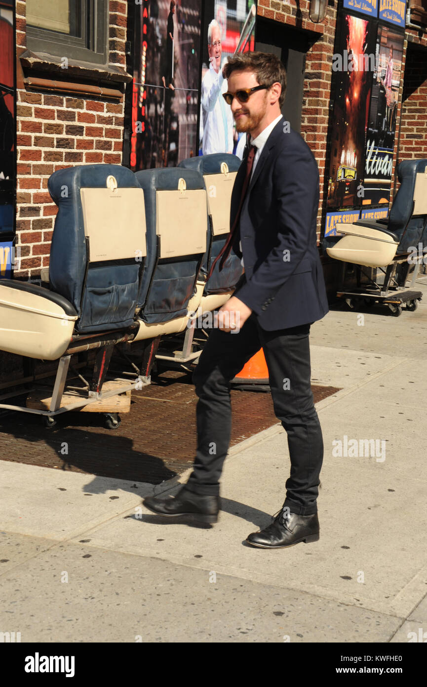 0f7a202f NEW YORK, NY - AUGUST 27: Actor James McAvoy leaves the 'Late Show With  David Letterman' taping at the Ed Sullivan Theater on August 27, 2014 in New  York ...