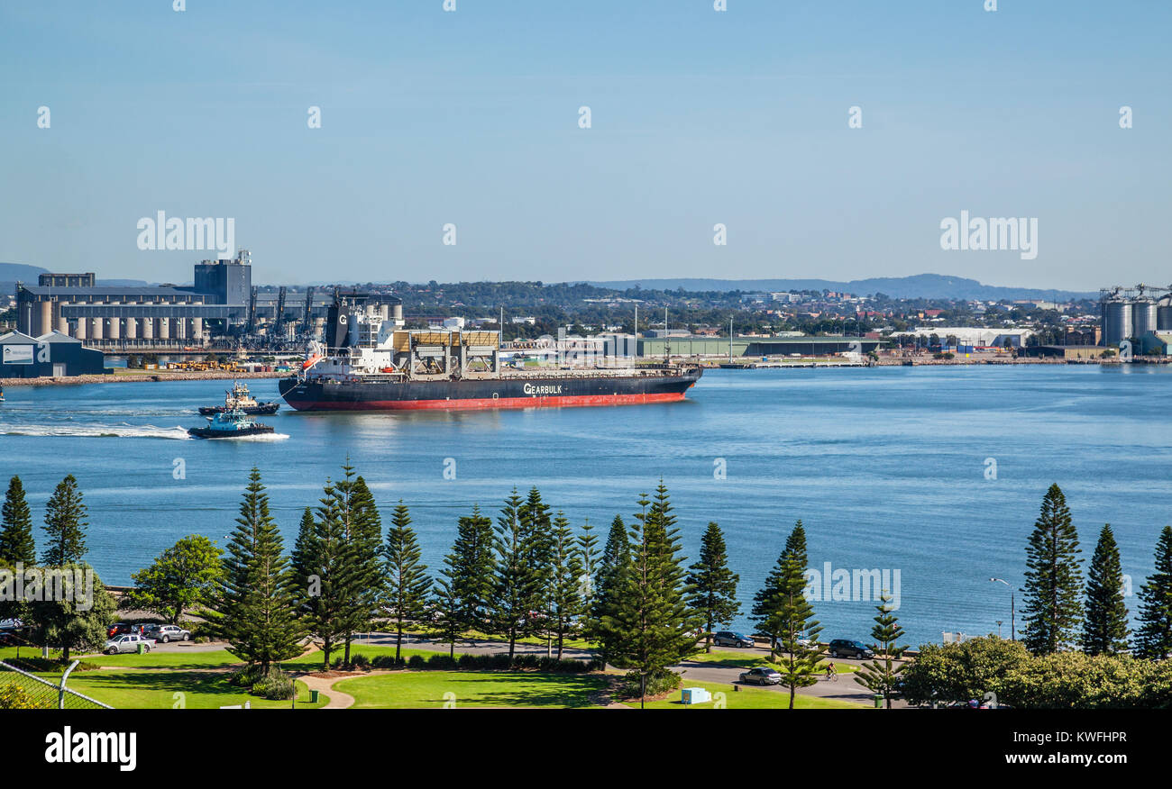 Australia, New South Wales, Newcastle, view of the Foreshore Park and the Newcastle waterfront, with the general - Stock Image