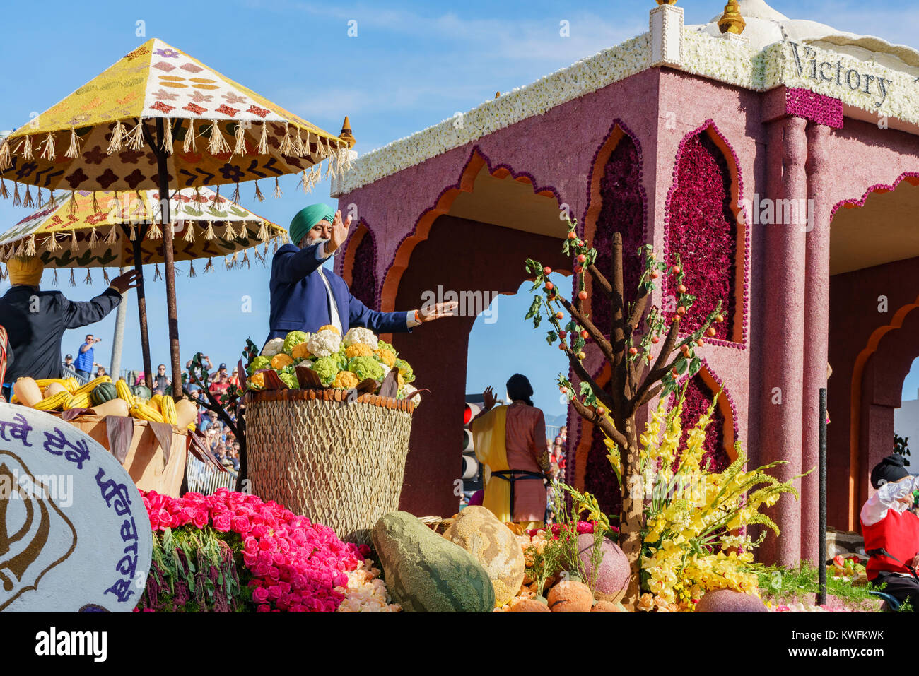 Pasadena,  JAN 1: Indian style, Leishman Public Spirit Award float in the famous Rose Parade - America's New Year Stock Photo