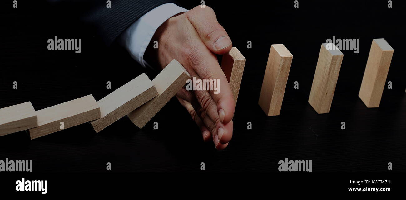 business concept of salvation from collapse - Stock Image