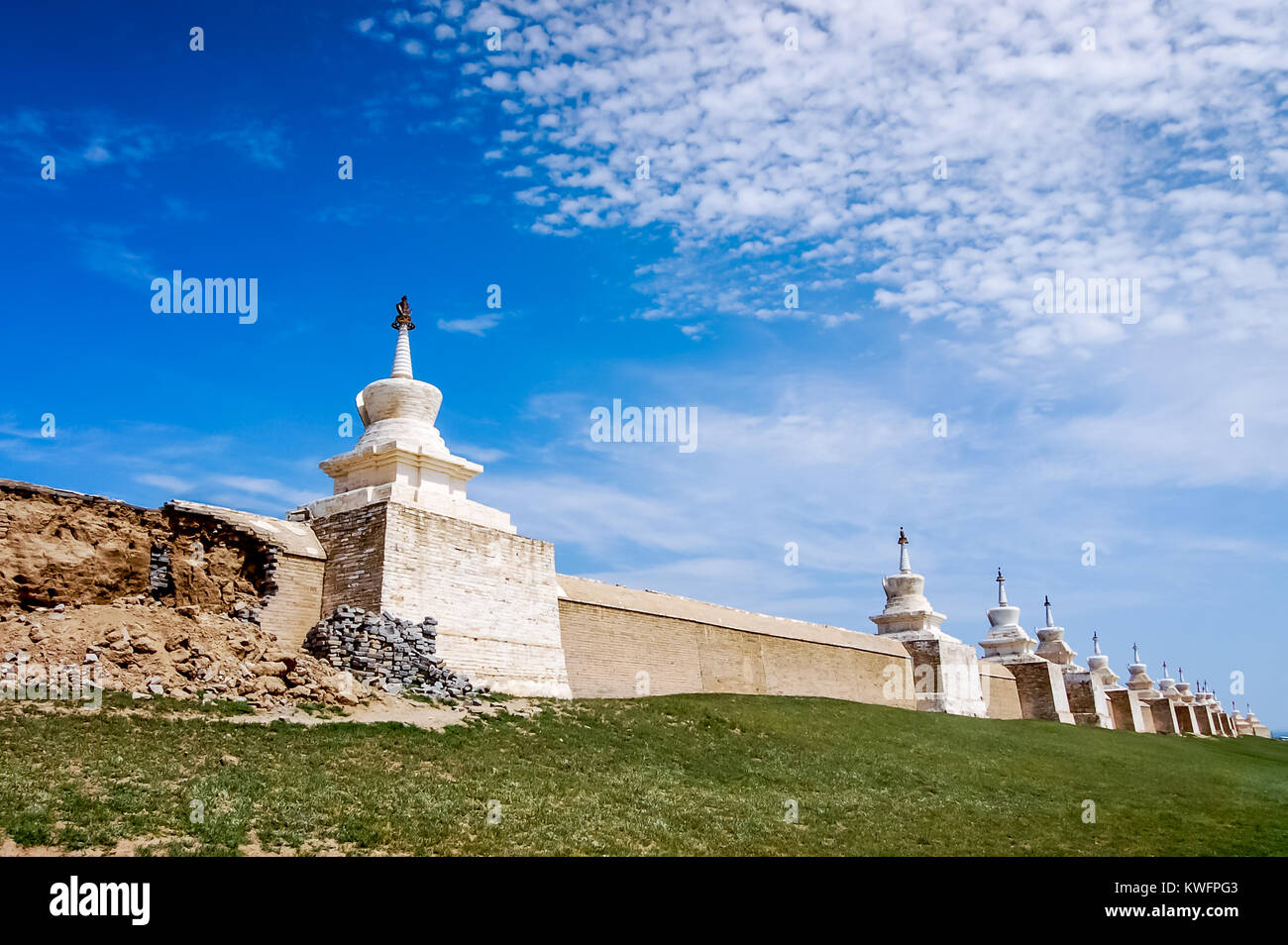 Kharhorin, Central Mongolia - July 26, 2010: Erdene Zuu Monastery, Ovorkhangai Province. One of largest remaining - Stock Image