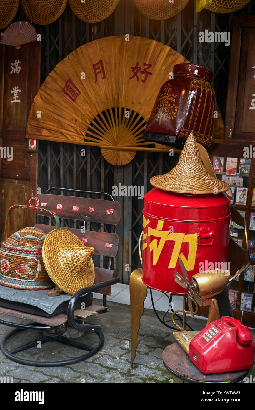 Chinatown. Vintage Chinese objects for sale at a street stall. Stock Photo