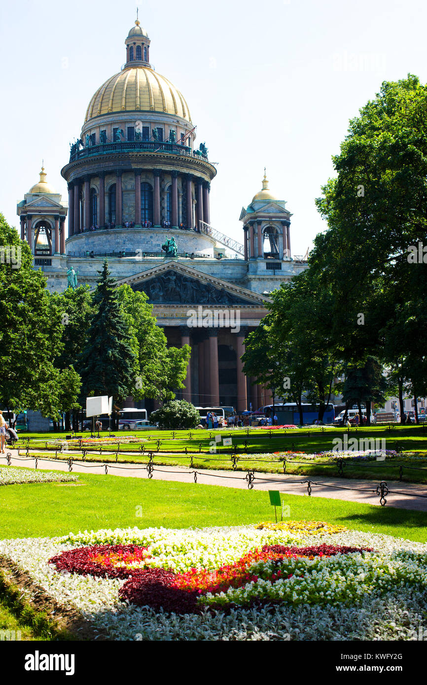 St Isaac's Cathedral in sunny summer day, Saint Petersburg, Russia Stock Photo