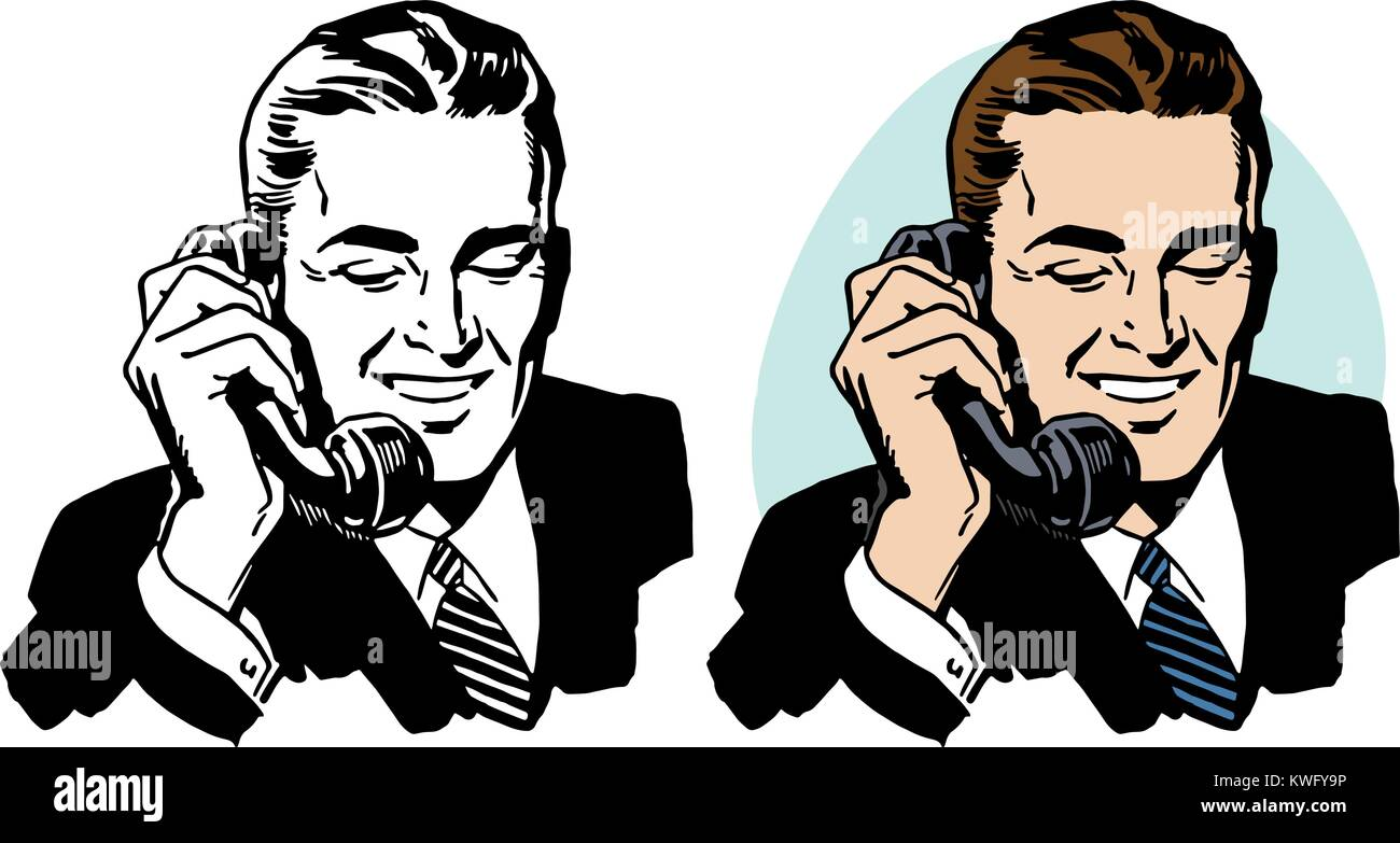 A businessman talking on a vintage telephone. - Stock Image