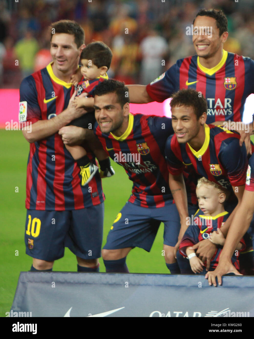 BARCELONA, SPAIN - SEPTEMBER 24: Neymar of FC Barcelona with his son Davi Lucca (L) and his team-mate Lionel Messi - Stock Image