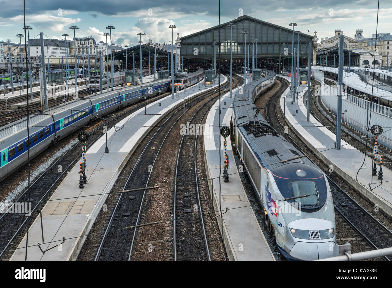 France, Paris, Gare  du Nord, TGV high speed train - Stock Image