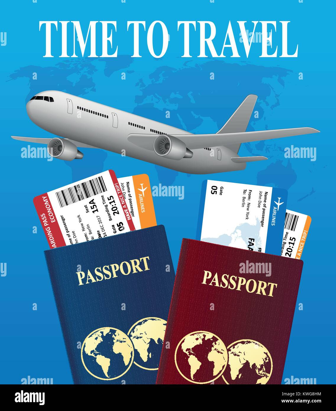 a5f9c721c9 Air travel international vacation concept. Business travel banner with  airline tickets and realistic airplane. Vector illustration