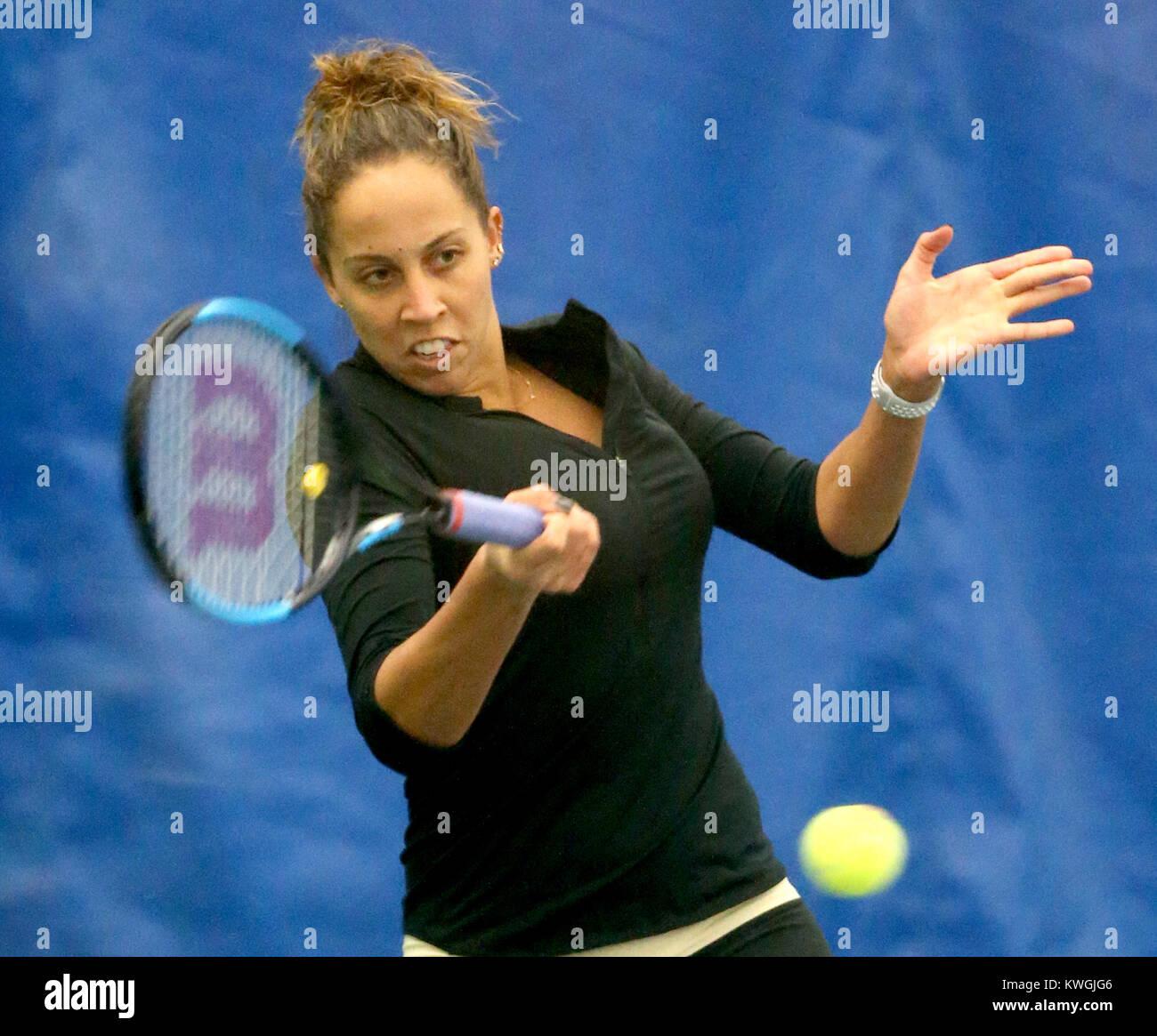 Moline, Iowa, USA. 16th Nov, 2017. Rock Island native Madison Keys, the 19th ranked tennis player in the world, - Stock Image