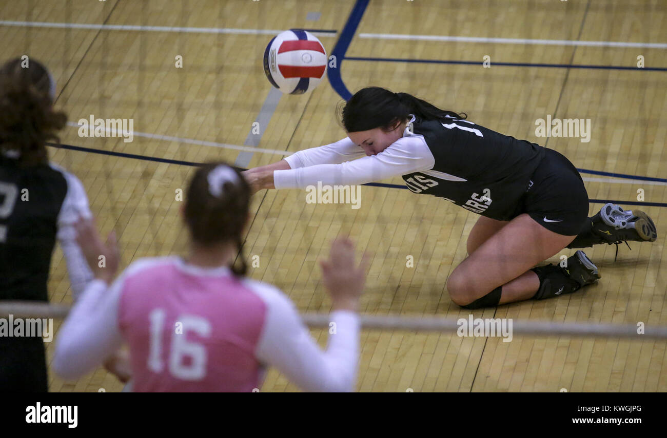 Davenport, Iowa, USA. 20th Nov, 2017. Illinois' Lily Gerth of Geneseo (11) dives for a ball during the second - Stock Image