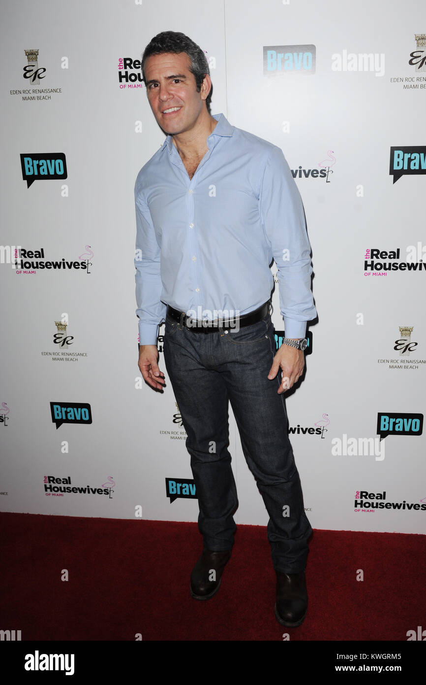 MIAMI BEACH, FL - FEBRUARY 21: Andy Cohen attends The Real Housewives of Miami Premiere Party at Eden Roc, a Renaissance - Stock Image