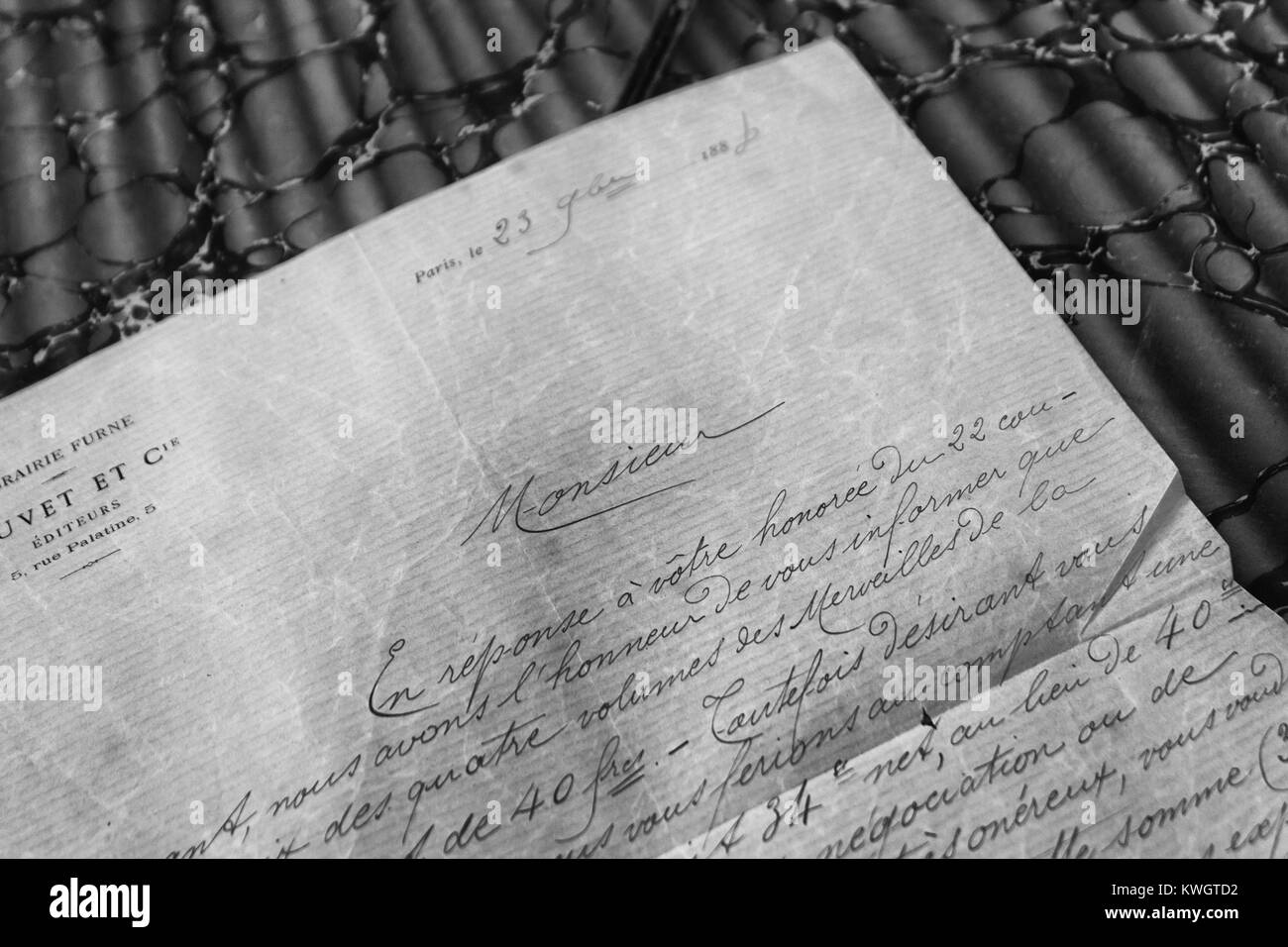 Fragment of a late 19th century letter written in French. - Stock Image