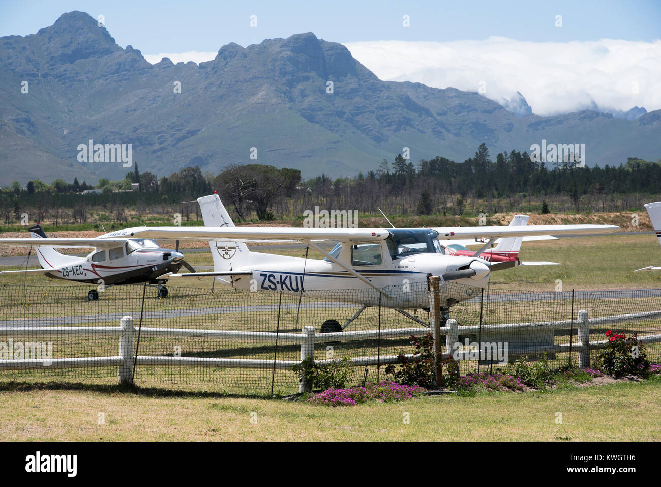 Stellenbosch Flying Club in Stellenbosch, Western Cape, South Africa, December 2017, Small airfield in the Western - Stock Image