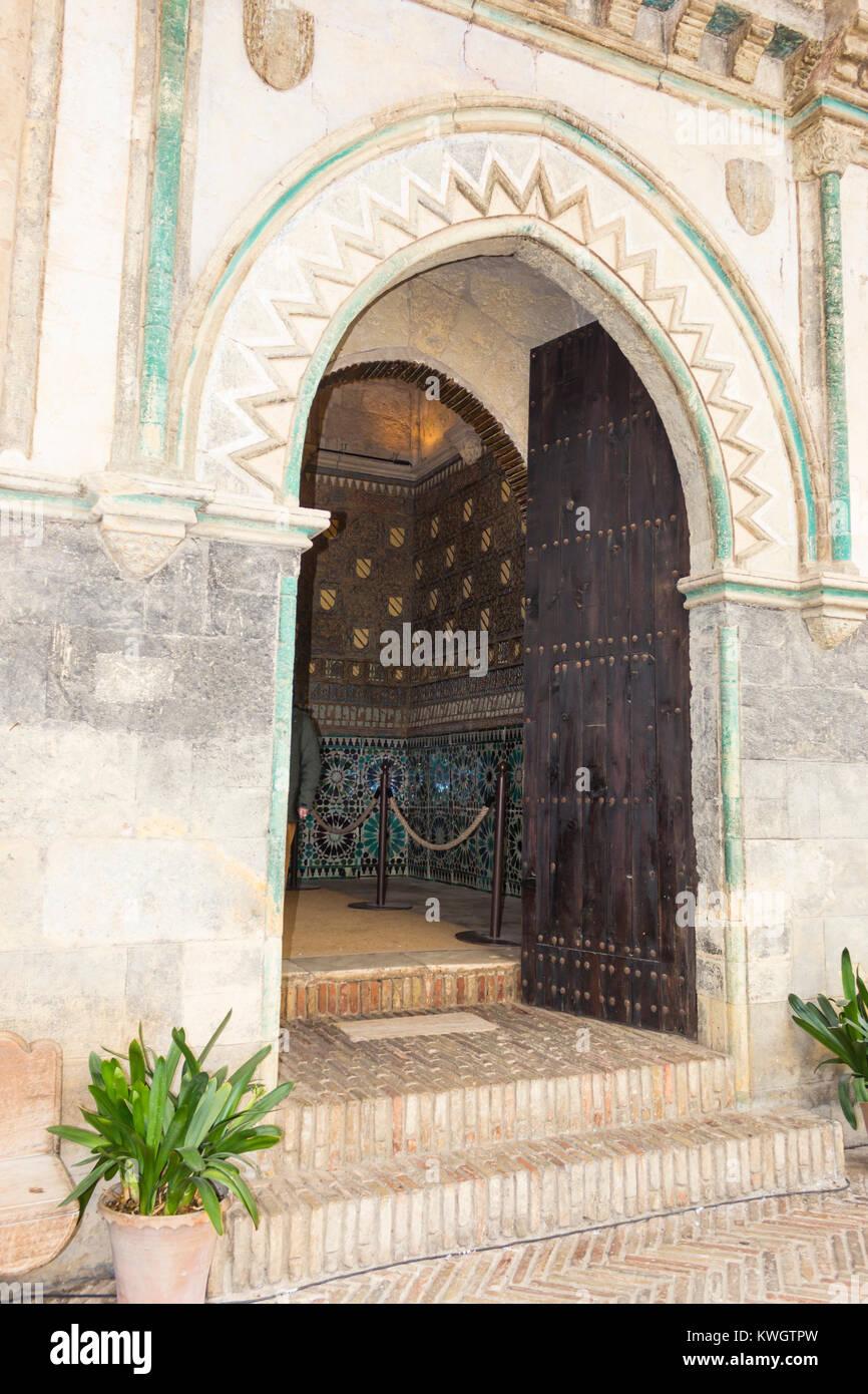 Cordoba, Spain.  Entrance to the Mudéjar Chapel of San Bartolomé, a 15th-century funerary chapel. - Stock Image