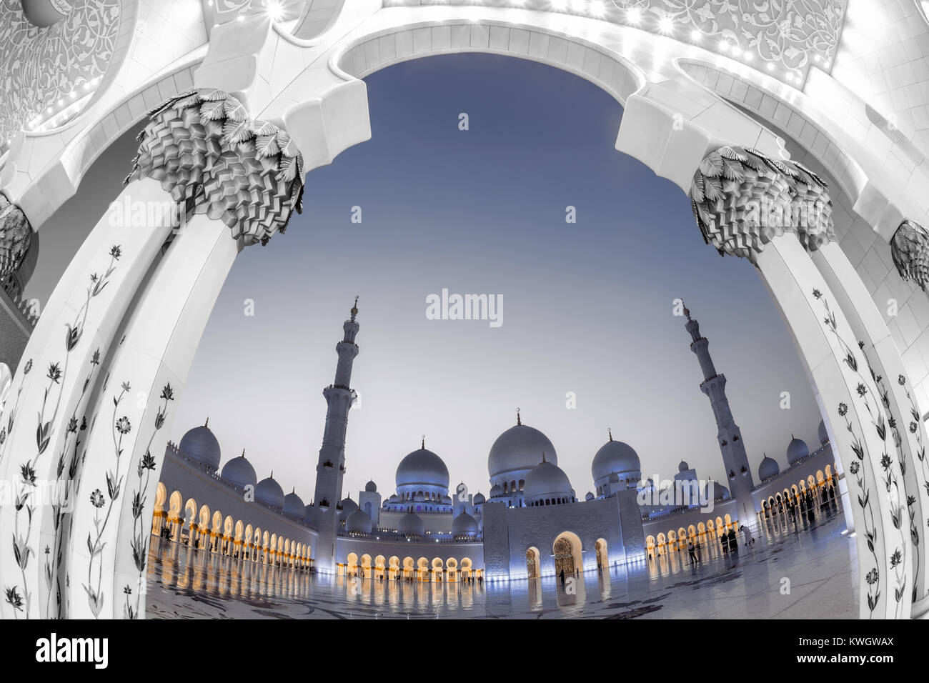 Sheikh Zayed mosque in Abu Dhabi, United Arab Emirates, Middle East - Stock Image