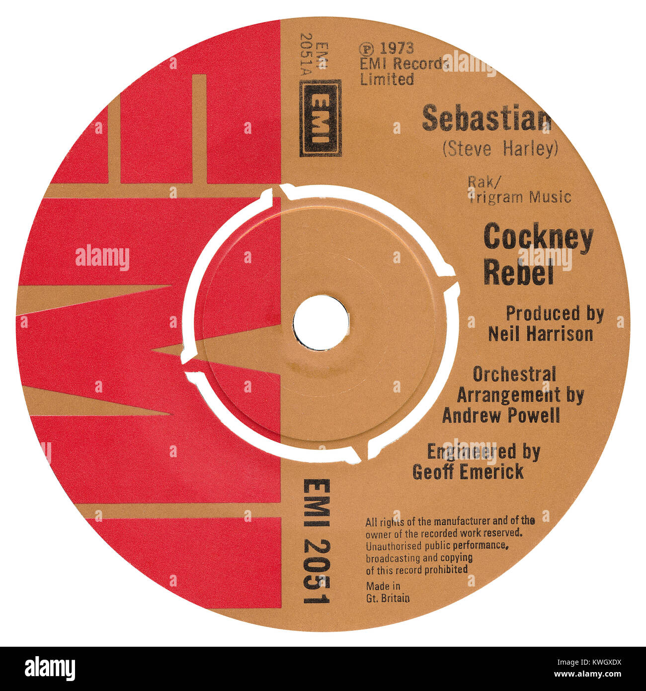 """45 RPM 7"""" UK record label of Sebastian by Cockney Rebel. Written by Steve Harley, arranged by Andrew Powell and Stock Photo"""