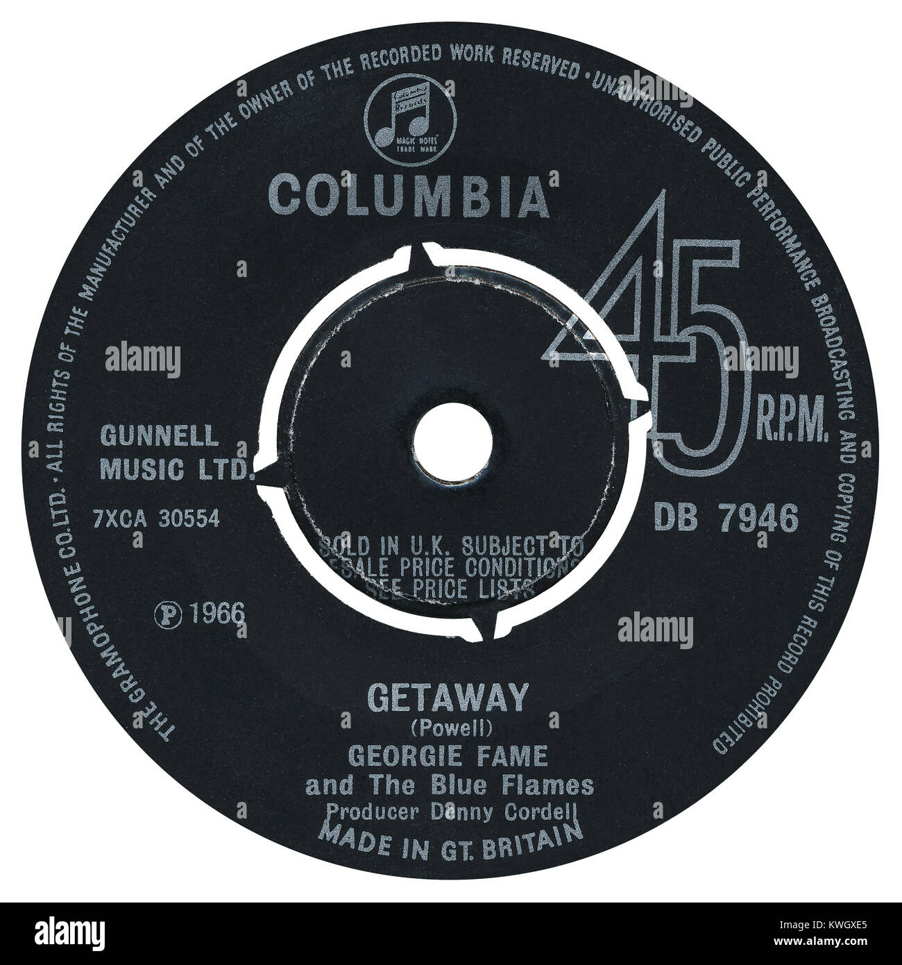 45 RPM 7' UK record label of Getaway by Georgie Fame and the Blue Flames. Written by Georgie Fame as Clive Powell - Stock Image