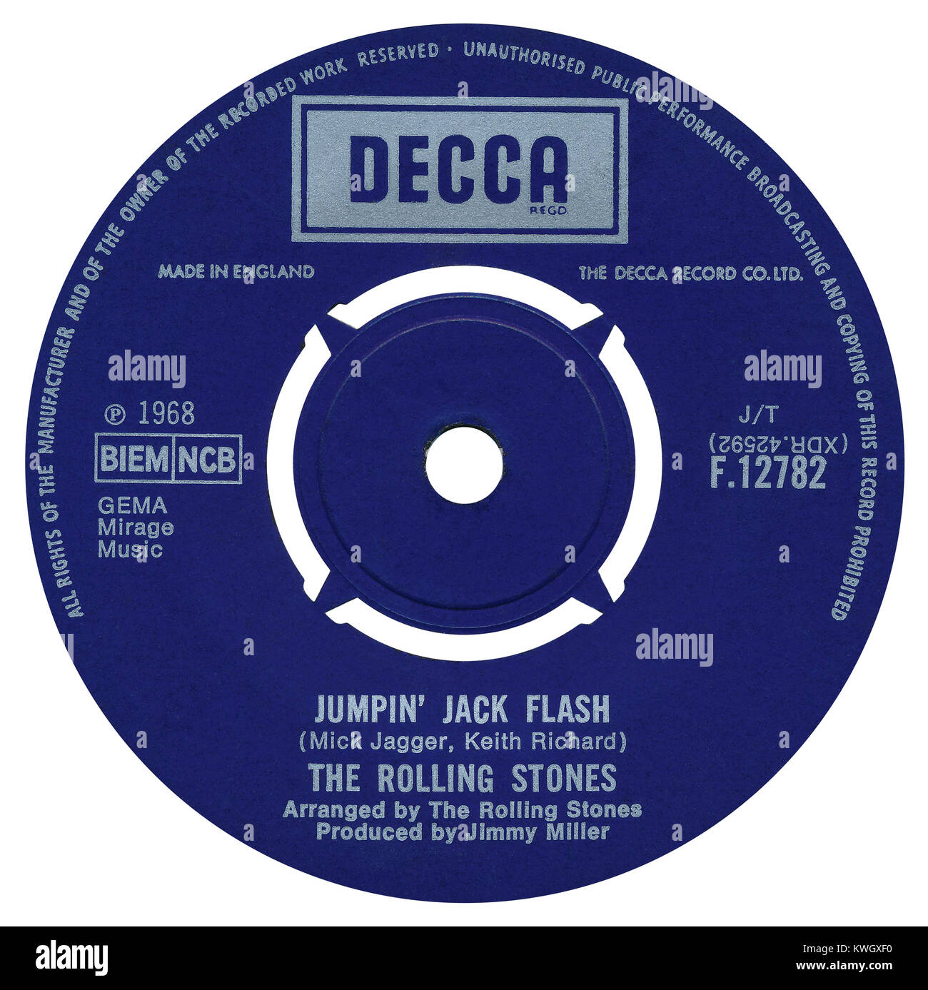 45 RPM 7' UK record label of Jumping' Jack Flash by The Rolling Stones. Written by Mick Jagger and Keith - Stock Image