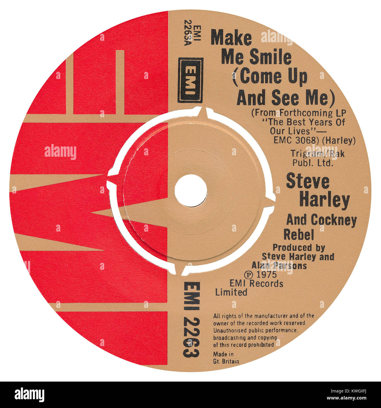 45 RPM &' UK record label of Make Me Smile (Come Up And See Me) by Steve Harley and Cockney Rebel. Written - Stock Image