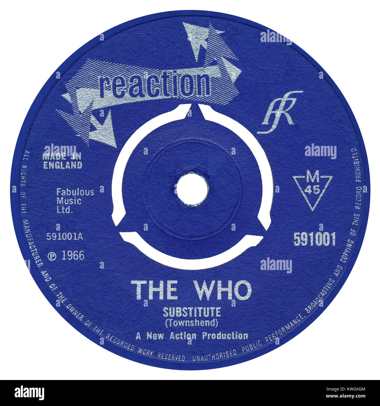 45 RPM 7' UK record label of Substitute by The Who. Written and produced by Pete Townshend. Released in March - Stock Image