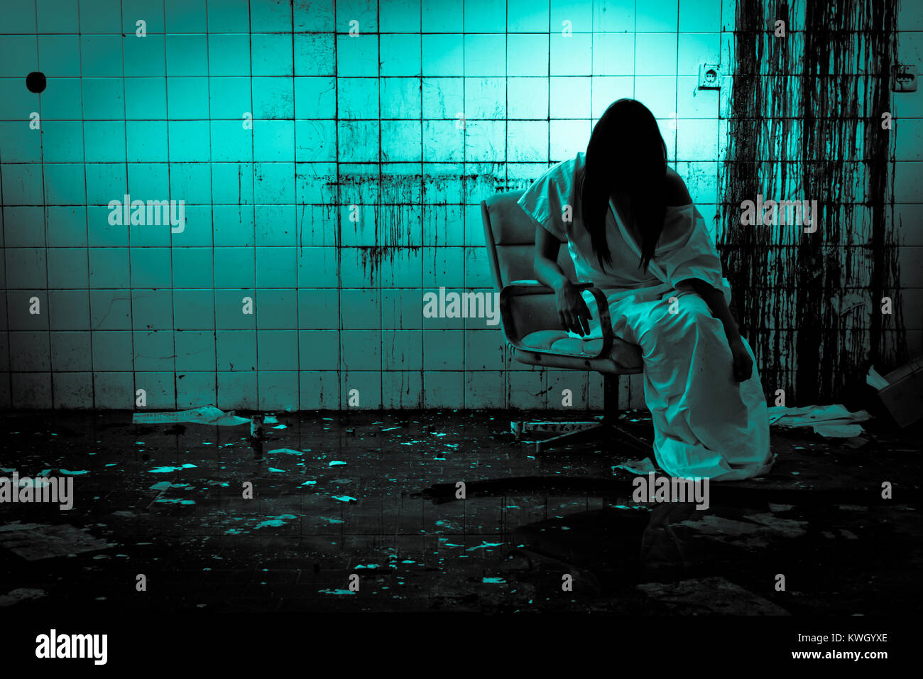 Horror scene of a scary woman - Stock Image