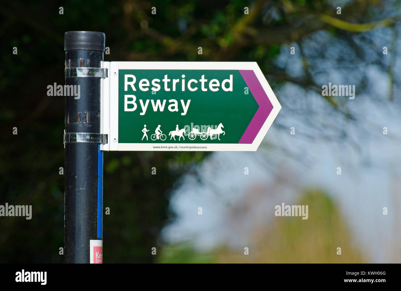 Boughton Monchelsea village, Kent, England. Restricted Byway sign - Stock Image